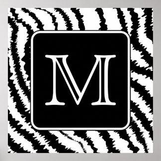 Custom Monogram, Zebra Pattern Animal Print. Poster