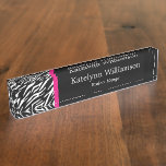 Custom Monogram Zebra Print Name Plate