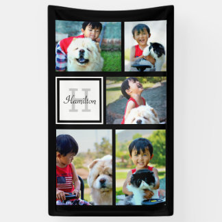 Custom Monogrammed 5 Photo Mosaic Picture Collage Banner