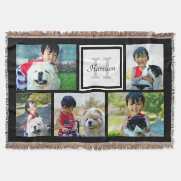 Custom Monogrammed 5 Photo Mosaic Picture Collage Throw