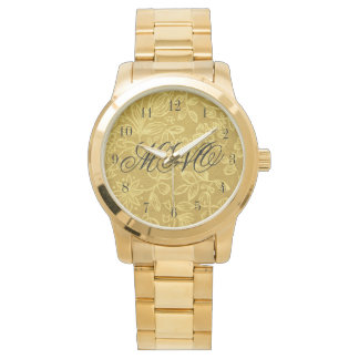 Custom Monogrammed Gold Floral Wrist Watch