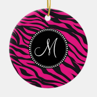 Custom Monogrammed Initial Hot Pink Black Zebra Ceramic Ornament