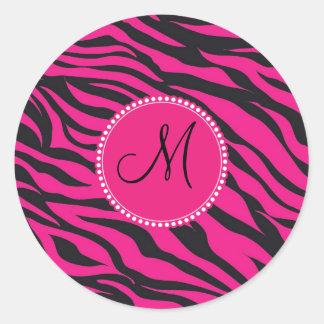 Custom Monogrammed Initial Hot Pink Black Zebra Classic Round Sticker