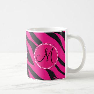 Custom Monogrammed Initial Hot Pink Black Zebra Classic White Coffee Mug