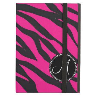 Custom Monogrammed Initial Hot Pink Black Zebra iPad Air Cover