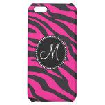 Custom Monogrammed Initial Hot Pink Black Zebra Case For iPhone 5C