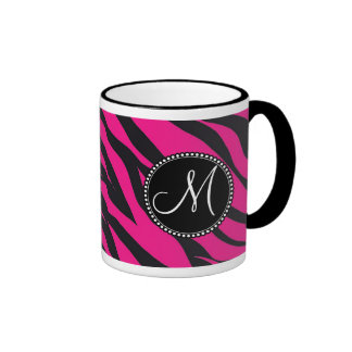 Custom Monogrammed Initial Hot Pink Black Zebra Ringer Coffee Mug