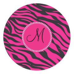 Custom Monogrammed Initial Hot Pink Black Zebra Stickers