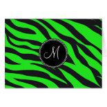 Custom Monogrammed Initial Neon Green Black Zebra Cards