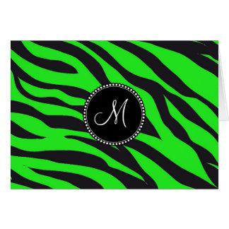 Custom Monogrammed Initial Neon Green Black Zebra Card