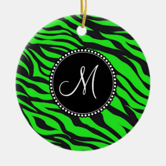 Custom Monogrammed Initial Neon Green Black Zebra Ceramic Ornament