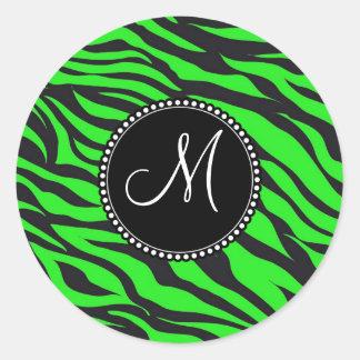 Custom Monogrammed Initial Neon Green Black Zebra Classic Round Sticker