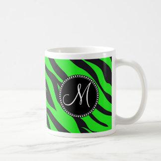 Custom Monogrammed Initial Neon Green Black Zebra Coffee Mug