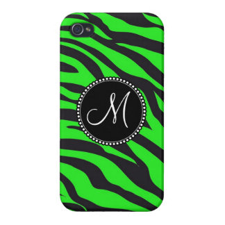 Custom Monogrammed Initial Neon Green Black Zebra iPhone 4 Cover
