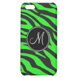 Custom Monogrammed Initial Neon Green Black Zebra iPhone 5C Cases