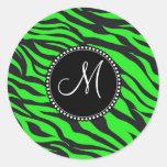 Custom Monogrammed Initial Neon Green Black Zebra Round Sticker