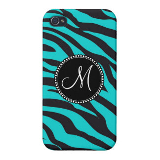 Custom Monogrammed Initial Teal Black Zebra Stripe iPhone 4/4S Case
