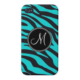 Custom Monogrammed Initial Teal Black Zebra Stripe iPhone 4 Case