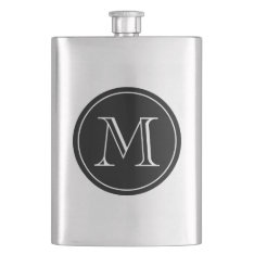 Custom monogrammed initialed stainless steel flask at Zazzle