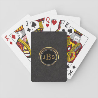 Custom Monogrammed Initials | Black Leather Look Playing Cards