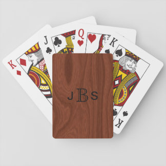 Custom Monogrammed Initials | Mahogany Wood Look Playing Cards