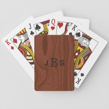angela65 Custom Monogrammed Initials | Mahogany Wood Look Playing Cards