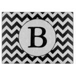 Custom Monogrammed Large Black Chevron Design Cutting Board