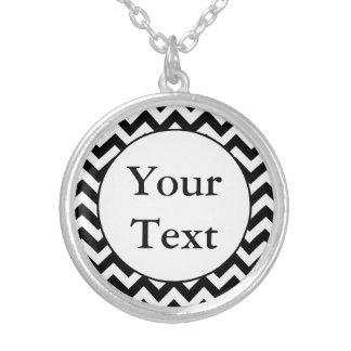 Custom Monogrammed Large Black Chevron Design Custom Necklace