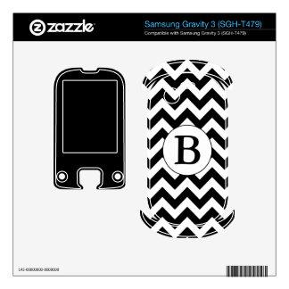 Custom Monogrammed Large Black Chevron Design Samsung Gravity 3 Decals