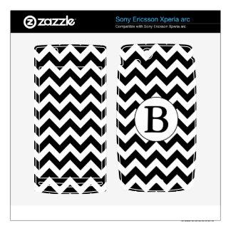 Custom Monogrammed Large Black Chevron Design Xperia Arc Skin