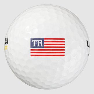 Custom monogrammed letter patriotic American flag Golf Balls