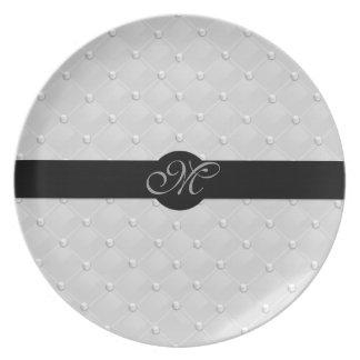 Custom Monogrammed Pearl Tufted Plate