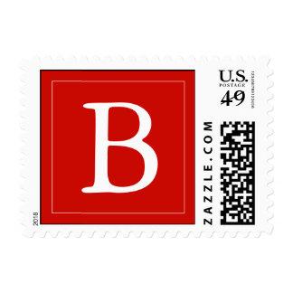 Custom Monogrammed Postage Stamp - Bright Red