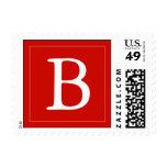Custom Monogrammed Postage Stamp - Bright Red Stamp