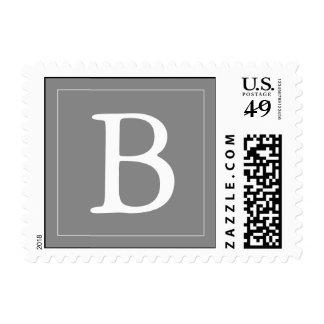 Custom Monogrammed Postage Stamp - Gray