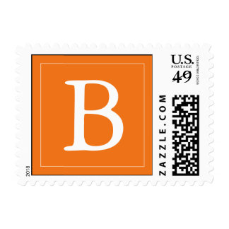 Custom Monogrammed Postage Stamp - Medium Orange
