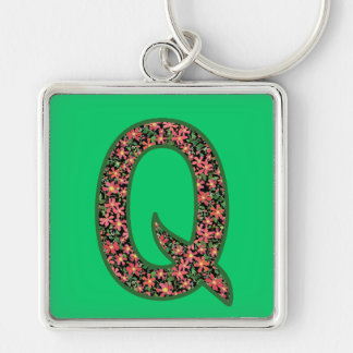 Custom Monogrammed Q Keychain, Primroses Pattern Keychain