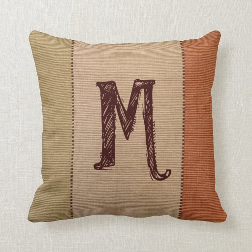 Custom Monogrammed Rustic Fall Decor Throw Pillow Zazzle