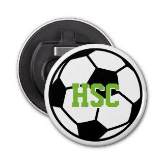 Custom monogrammed soccer ball beer bottle opener