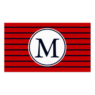 Custom Monogrammed Trendy Dark Blue Red Stripes Double-Sided Standard Business Cards (Pack Of 100)