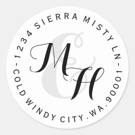 Custom Monograms Circular Return Address Label Classic Round Sticker