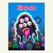Custom Monster Halloween Magnetic Postcard. Magnetic Invitation