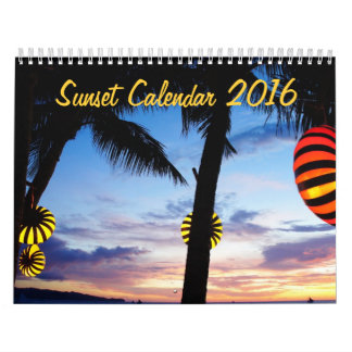 Custom Monthly Sunset Calendar 2016