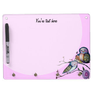 Custom Mother and baby owl Dry Erase Board With Keychain Holder