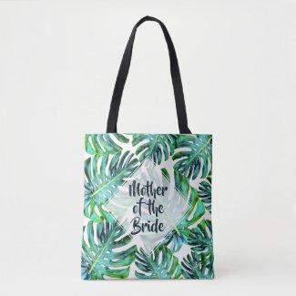Custom Mother of Bride Tropical Leaf Greenery Tote Bag