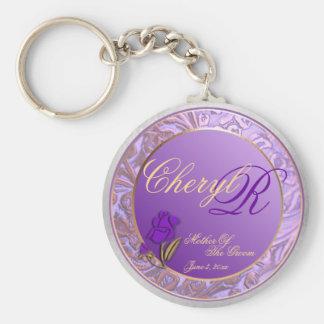 Custom Mother Of Groom Shades of Lavender Keepsake Basic Round Button Keychain