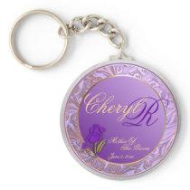 Custom Mother Of Groom Shades of Lavender Keepsake Keychain