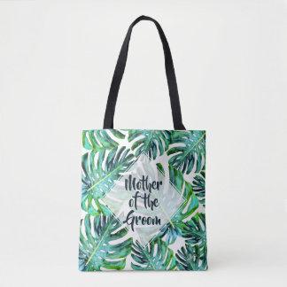 Custom Mother of Groom Tropical Leaf Greenery Tote Bag