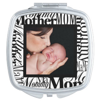 Custom Mother Word Collage Photo Compact Mirror