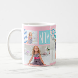 Custom Mothers Day Photo Collage Pink/Blue Classic White Coffee Mug
